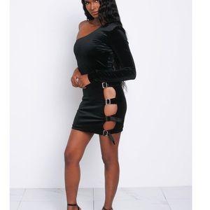 Noir Velvet Bailey Buckle Dress